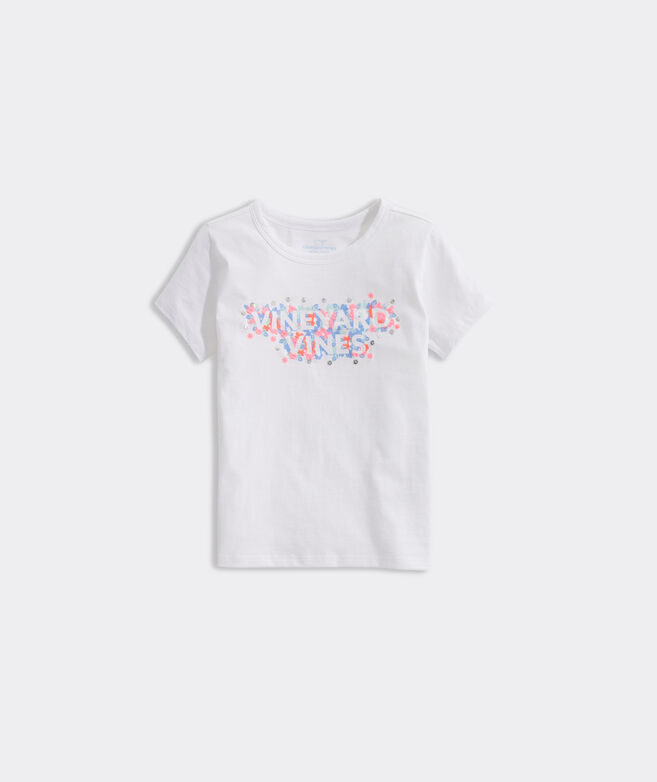 Girls' Floral Embroidered Ringer Tee