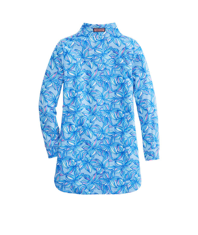Girls Printed Plumeria Shep Shirt Cover-Up