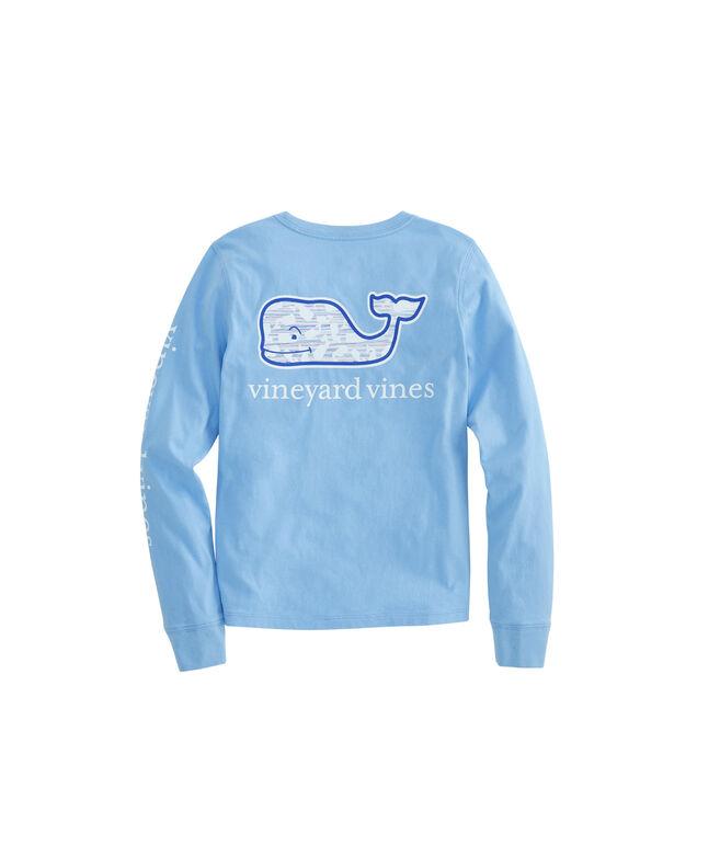 Girls Long-Sleeve Fine Line Whale Fill Pocket Tee