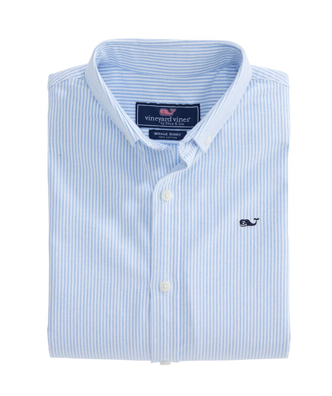 Kids Fine Line Stripe Oxford Whale Shirt