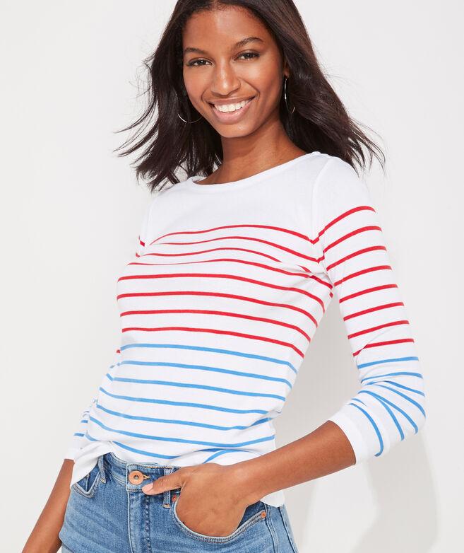 Sailor Stripe Simple Boatneck Tee