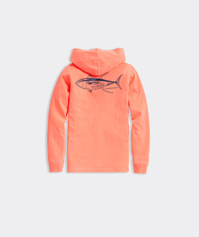 Boys' Garment-Dyed Tuna Long-Sleeve Hoodie Tee