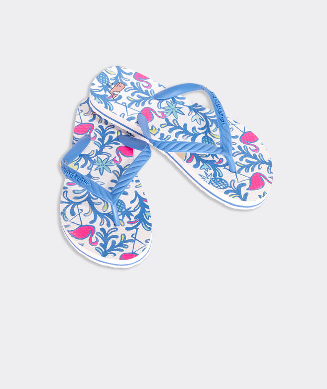 Girls' Watercolor Floral Flamingos Printed Flip Flops