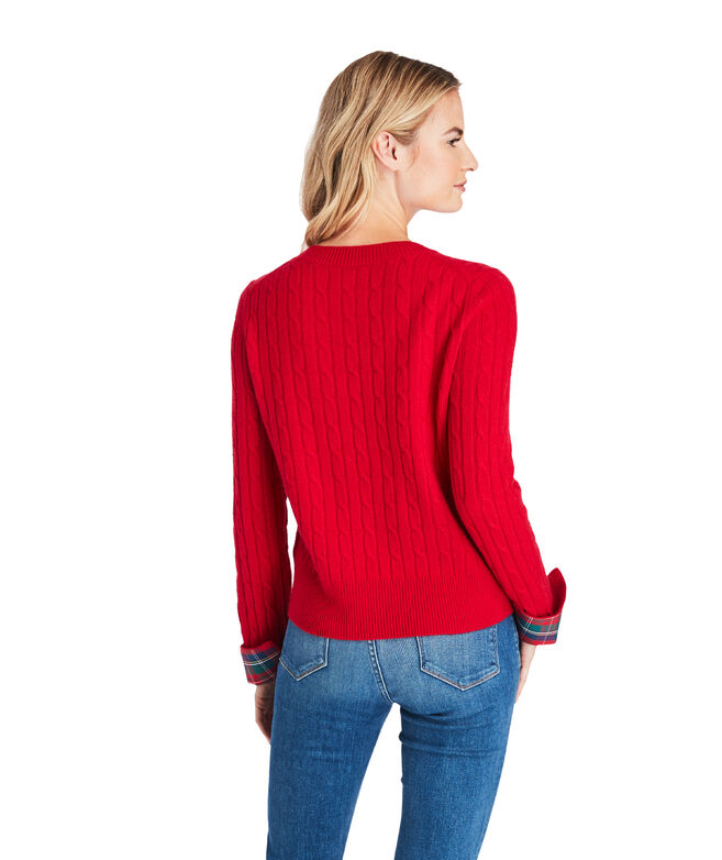 Merry Plaid Cuff Coral Lane Cashmere Sweater