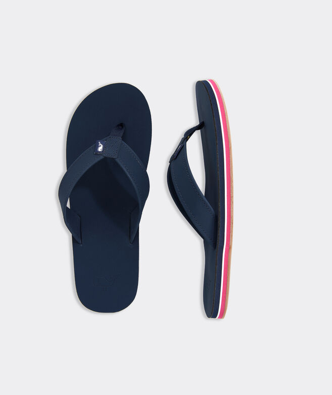 Pop Stripe Leather Flip Flops
