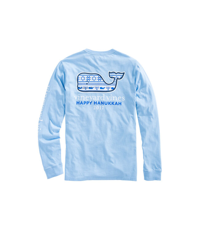 Long-Sleeve Hanukkah Fair Isle Whale Fill Pocket T-Shirt
