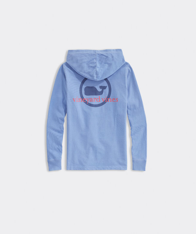 Boys' Garment-Dyed Whale Dot Long-Sleeve Hoodie Tee