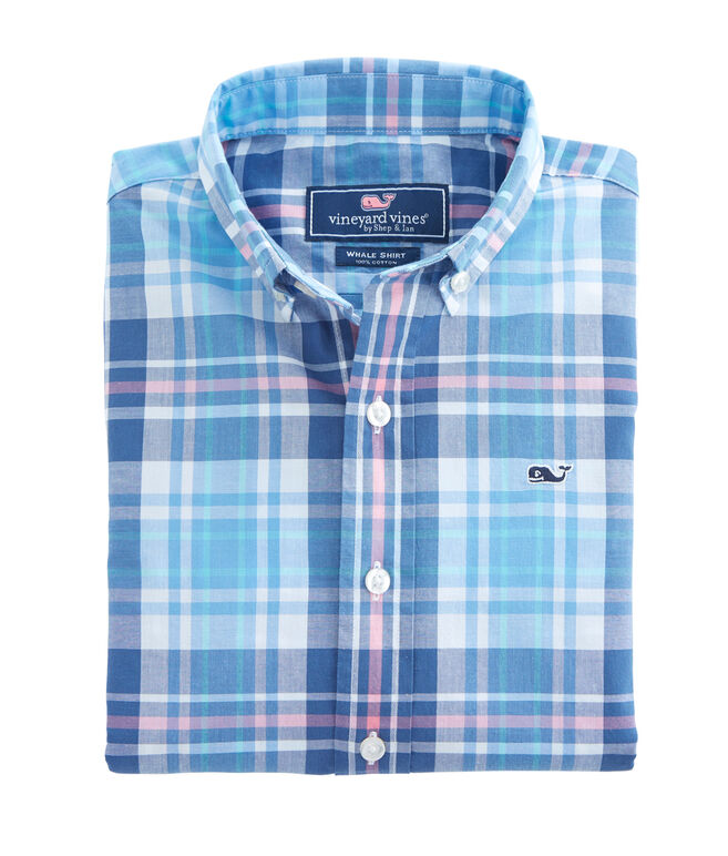 Boys Fort Sumter Plaid Whale Shirt
