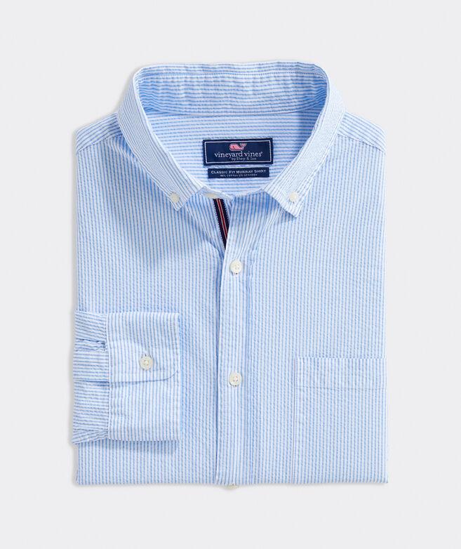 Classic Fit Seersucker Shirt in Stretch Cotton