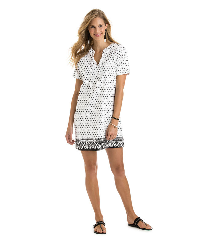 Fan Border Print Tunic Dress
