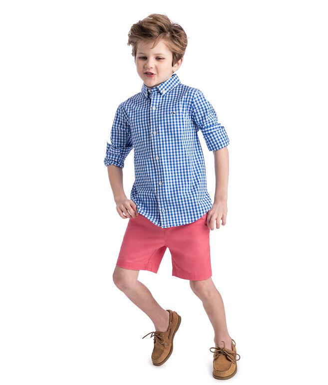 Boys Carleton Gingham Stretch Whale Shirt