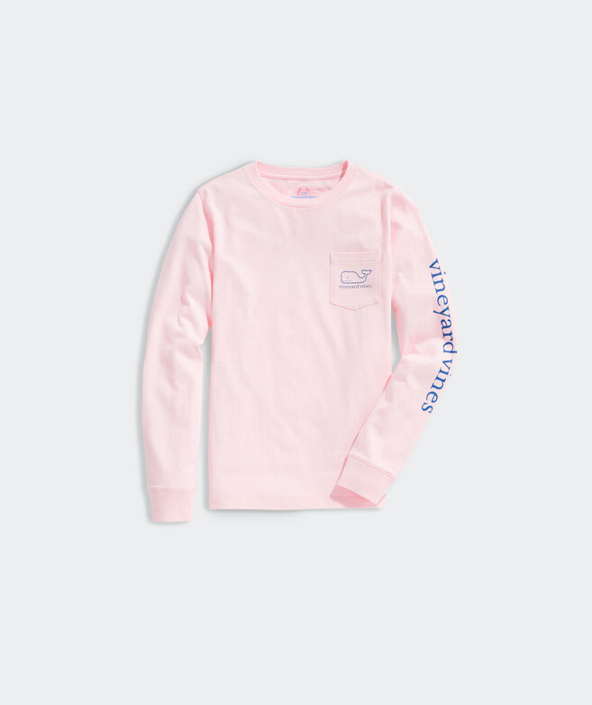 Kids' 2020 Breast Cancer Awareness Whale Fill Long-Sleeve Pocket Tee