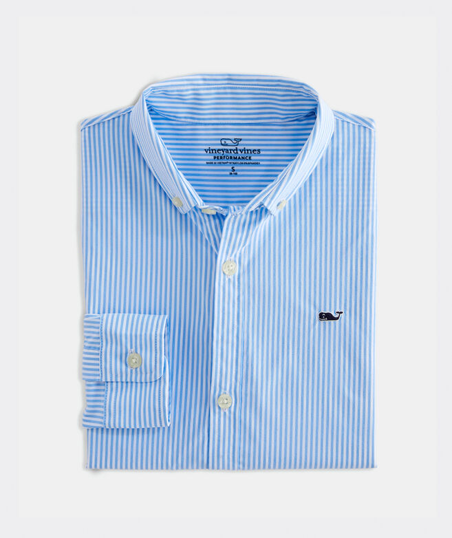 Boys' Cottage On-The-Go Performance Whale Button-Down Shirt