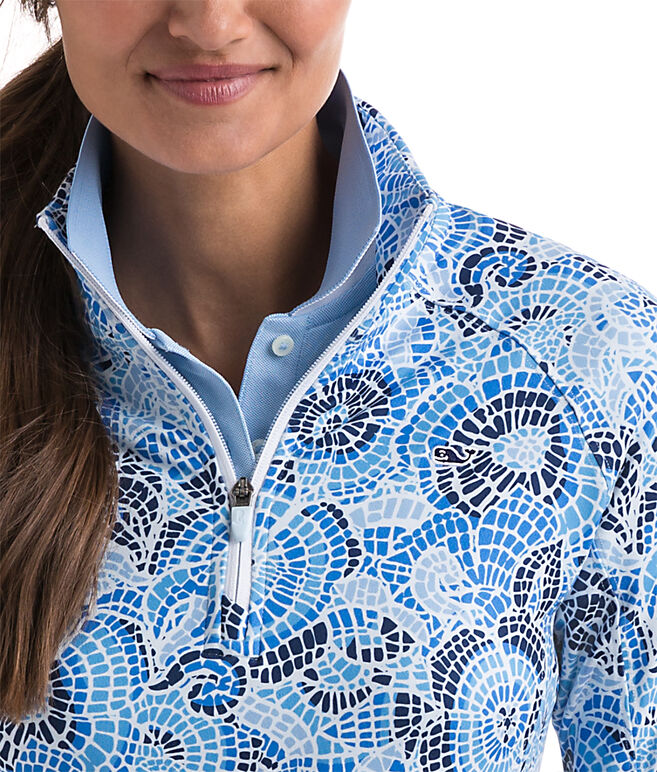 Mosaic Floral Print Performance 1/4-Zip