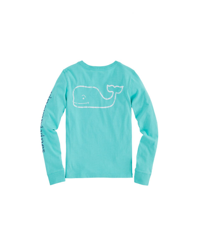 Girls Long-Sleeve Tri-Tone Vintage Whale Pocket Tee