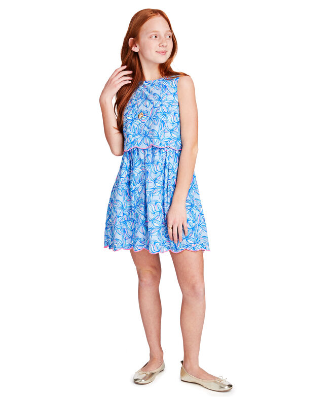 Girls Waisted Plumeria Scallop Dress