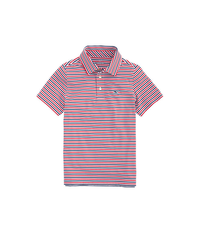 Boys Multi Cationic Stripe Sankaty Performance Polo