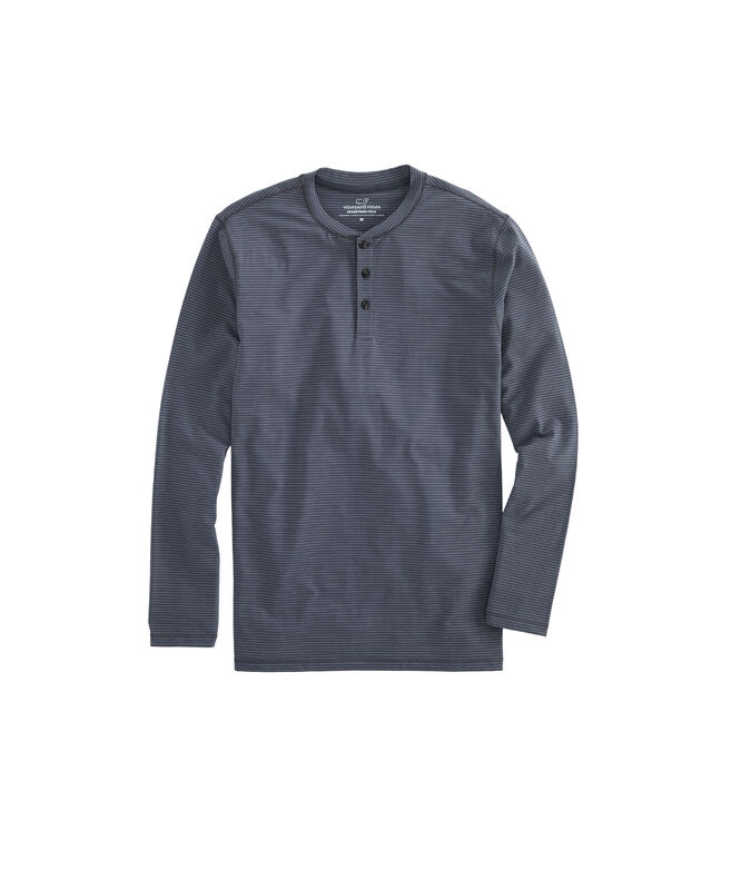 Long-Sleeve Tonal Stripe Edgartown Henley Shirt