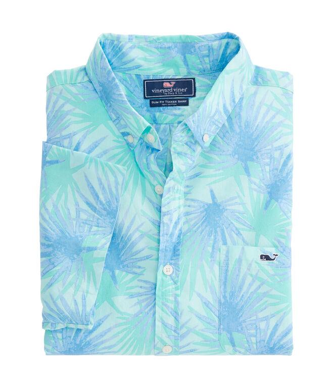 Short-Sleeve Electric Palm Slim Tucker Shirt