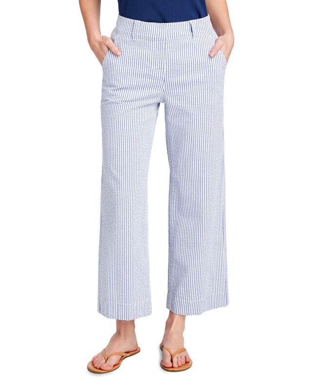 Seersucker High Waist Cropped Pants