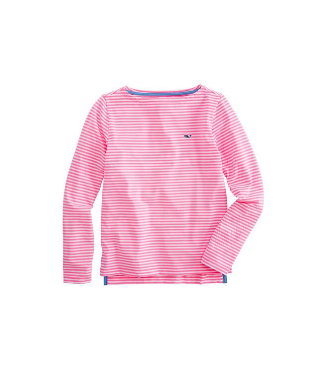 Girls' Boatneck Sankaty Stripe Long-Sleeve Simple Tee