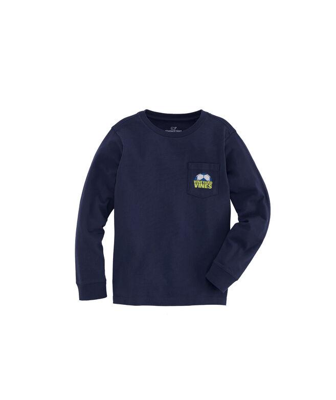 Boys Soccer Ball Cutoff Long-Sleeve Pocket T-Shirt