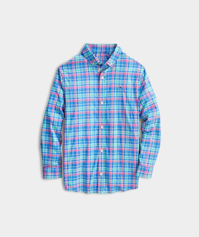 Boys' Sun Star On-The-Go Performance Whale Button-Down Shirt