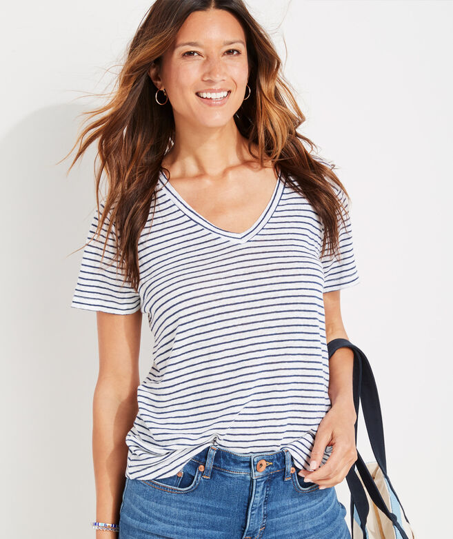 Striped Linen V-Neck Tee