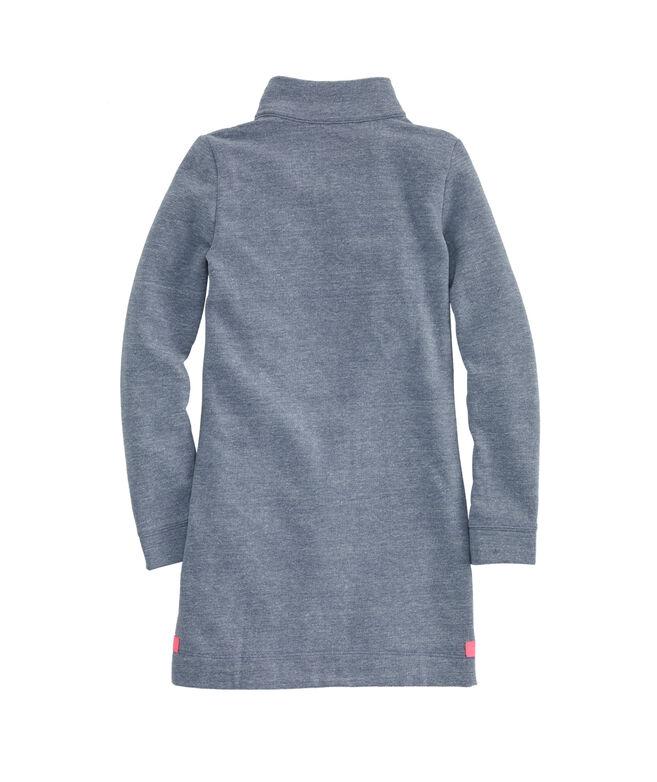 Girls Tri-blend 1/4 Zip Sweatshirt Dress