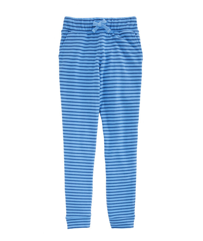 Girls Coral Stripe Brushed Terry Joggers