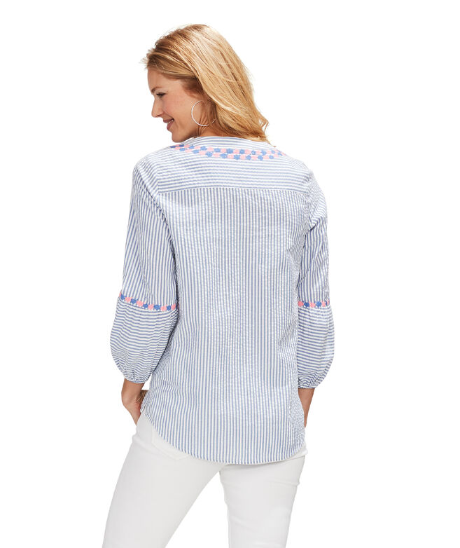 Seersucker Embroidered Savannah Popover