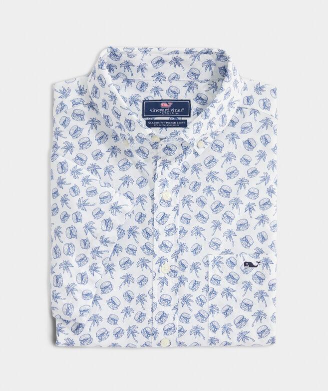 Stretch Cotton Short-Sleeve Sliders Print Shirt