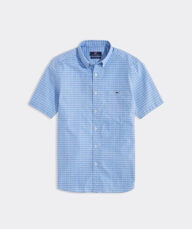 Stretch Cotton Short-Sleeve Painted Lines Shirt