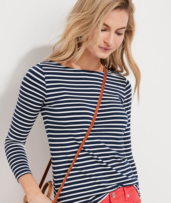 Lightweight Striped Sankaty Simple Boatneck Long-Sleeve Tee