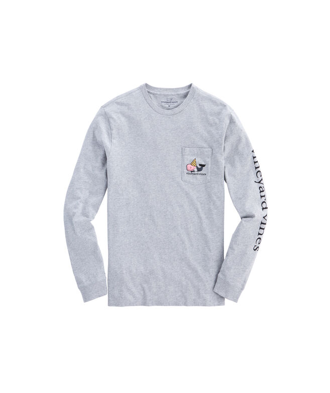 Mens New Years Whale Pocket T-Shirt