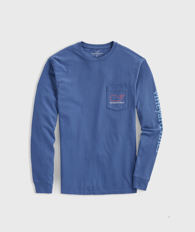 Tri-Color VV Whale Long-Sleeve Pocket Tee