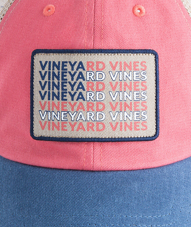 5cbd32a9638 Low Profile vineyard vines Flag Whale Patch Trucker Hat