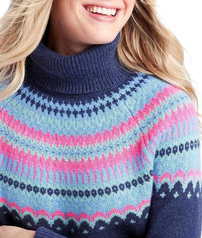 Pop Color Fair Isle Cashmere Turtleneck Sweater