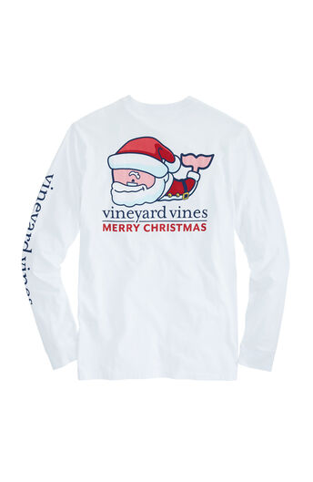long sleeve santa whale pocket t shirt