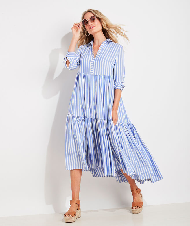 Sail Stripe Tiered Shirt Dress