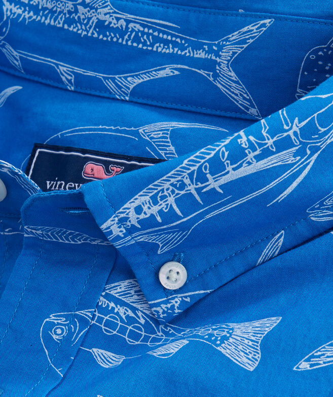 Short-Sleeve Fish Outlines Classic Murray Shirt
