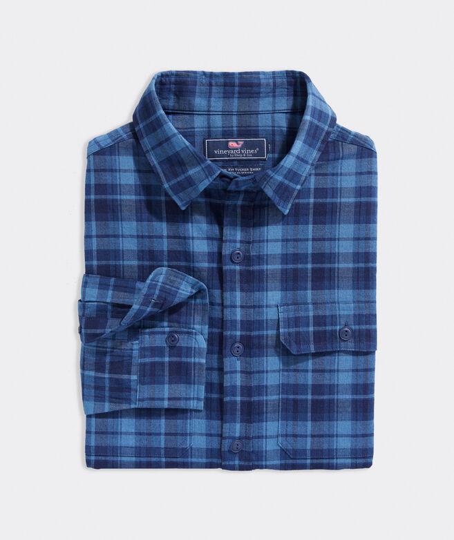 Stretch Cotton Indigo Plaid Dockman Shirt