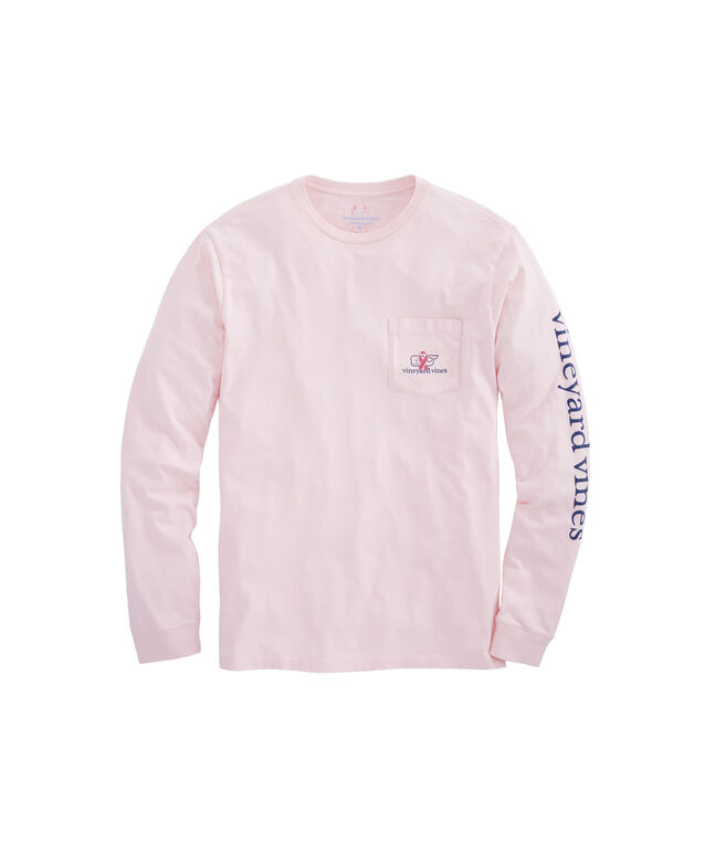 Mens Long-Sleeve Breast Cancer Awareness Ribbon Whale T-Shirt