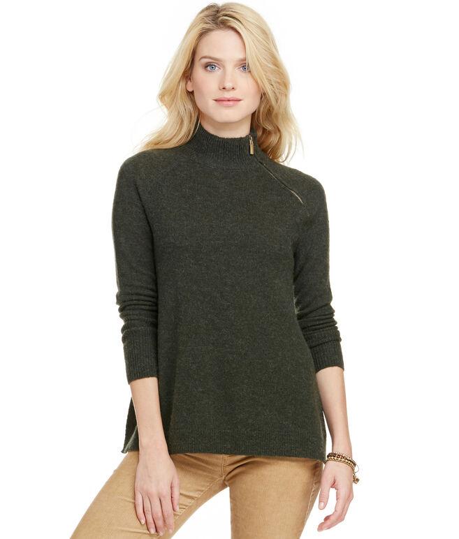 Zipper Neck Poncho Sweater