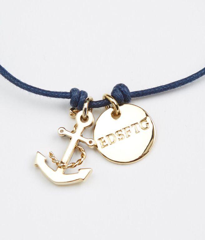 Enamel Anchor Cord Bracelet
