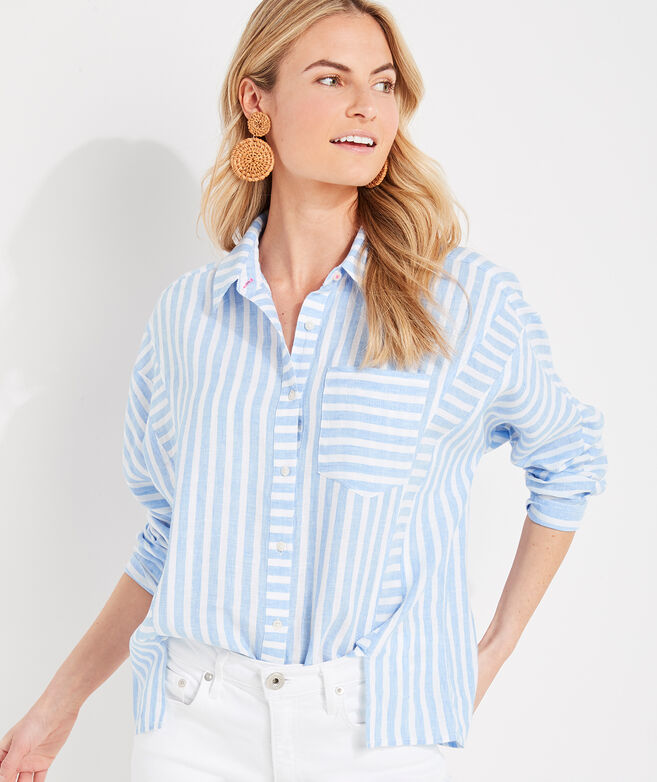 St. Barths Printed Linen Weekend Button-Down