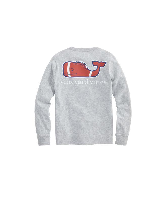 Boys Long-Sleeve Heathered Football Whale Pocket T-Shirt