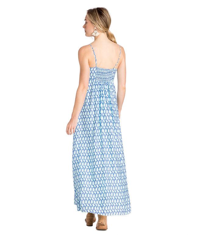 Lattice Print Tie Front Maxi Dress