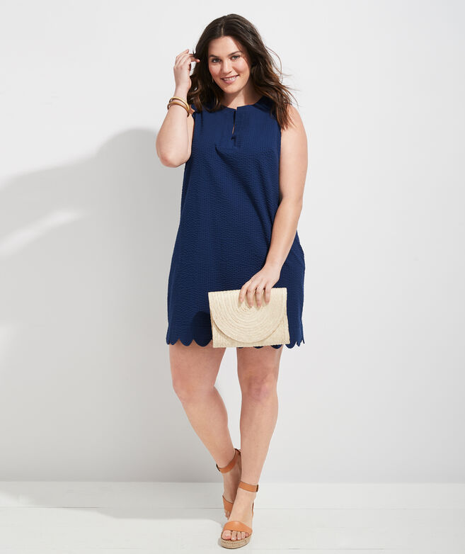 Seersucker Scallop Cisco Swing Dress