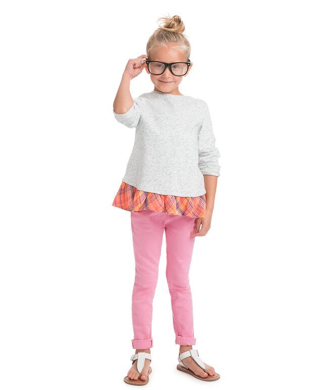 Girls Gingham Plaid Ruffle Sweatshirt